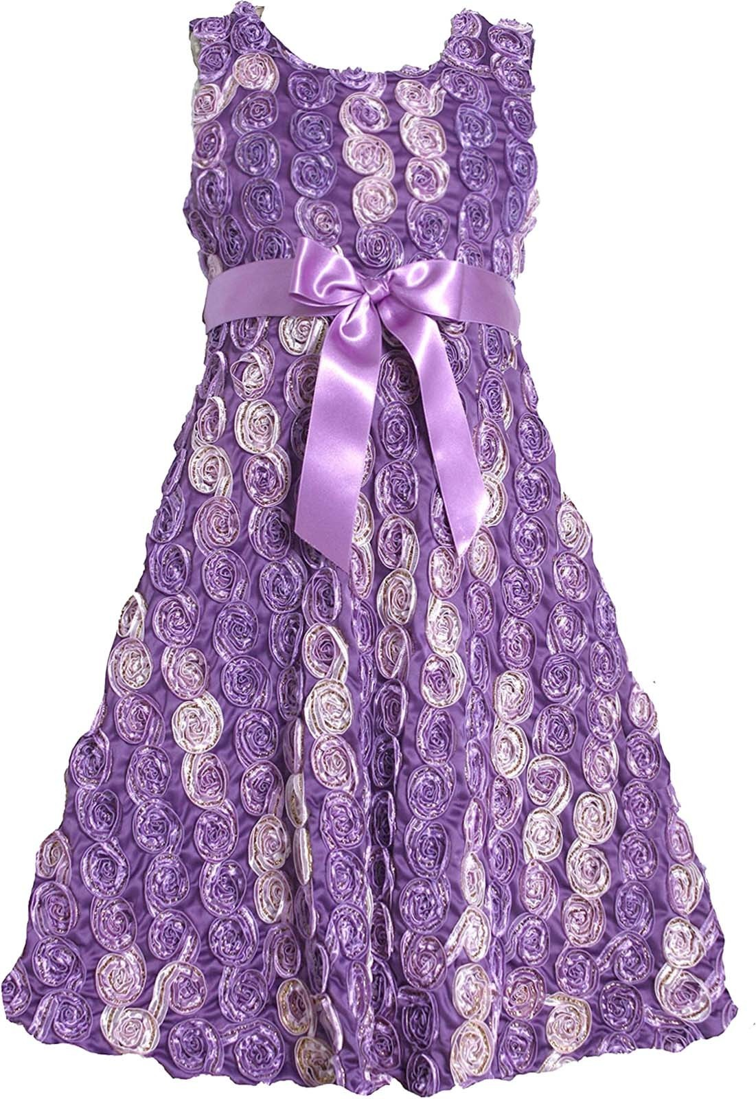 Bonnie Jean Big Girl Tween 7-16 Purple Gold Bonaz Rosette Fit Flare Social Dress