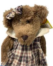 "Vintage Goffa 10"" Plush Brown Bear in Plaid Dress Stuffed Animal   - $14.99"