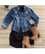 Distress Jean Boyfriend Women Button Casual Jacket - $48.51