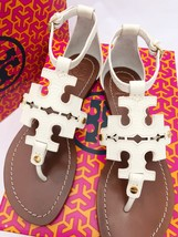 Tory Burch Phoebe Flat Thong Sandals Ivory White Leather Miller Logo - $220.99