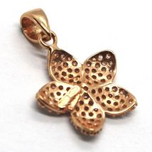 18K ROSE, PINK GOLD FLOWER STAR CHARM PENDANT WITH ZIRCONIA, MADE IN ITALY image 3