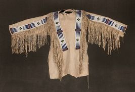 Men Native American Buckskin Beige Buffalo Leather Beaded Powwow War Shirt NA286 - $299.00