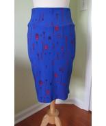 LULAROE Cassie Textured Stretch Blue Red Arrow Print Skirt MEDIUM M - $23.34