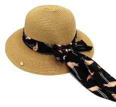 Camel Flamingo Straw Hat, Women Summer Hat, Beach Hat, Sun Hat - $33.90