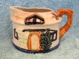 Vintage Thatched Cottage Ware Creamer Milk Pitcher Tree Spout Japan Pott... - $18.32