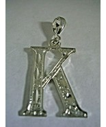 INITIAL LETTER K PENDANT STERLING SILVER BEAUTIFUL DESIGN WITH DIAMOND C... - $18.65