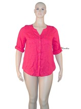 JM Collection Women's Top Blouse Plus 14W Radiant Pink 100% Linen 3/4 Sl... - $14.00