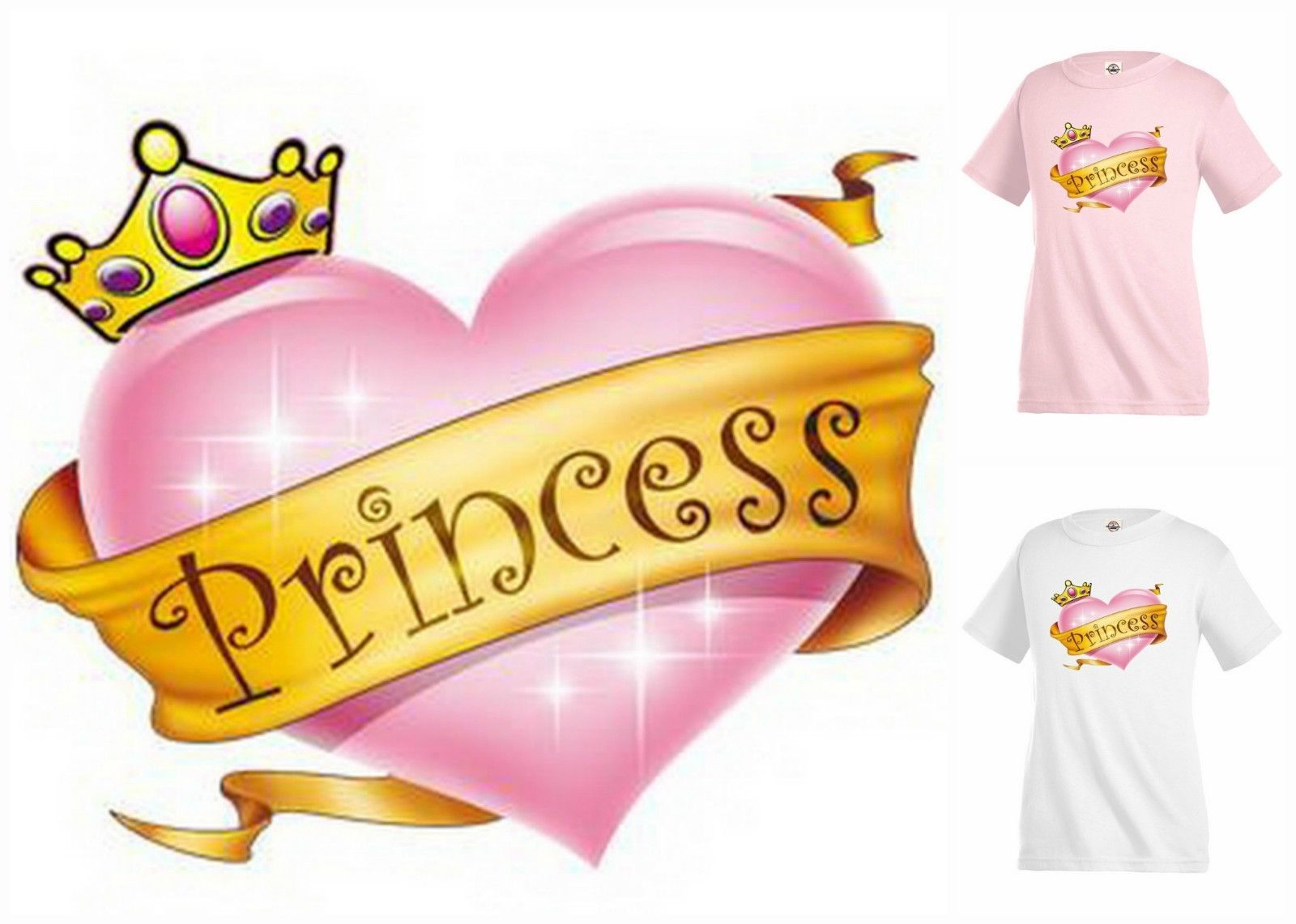 PRINCESS Crown Heart pink T-shirt Kid's Children Unisex Girl Funny KP244