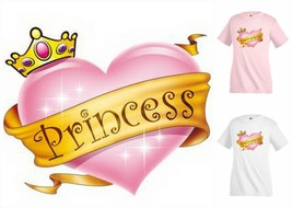 PRINCESS Crown Heart pink T-shirt Kid's Children Unisex Girl Funny KP244 - $12.99