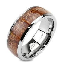 POLISHED TUNGSTEN RING W/ WOOD INLAY COUPLE RINGS - $52.85