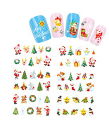Nail Art Water Sticker Decals Merry Christmas Santa Bells Mistle Toe Hol... - $2.60