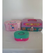 Vintage Caboodles Toy Biz Mall Mini Case 90's Set of 3 Playsets Pink Purple - $39.55