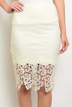 Crochet Lace Pencil Skirt, Lace Midi Skirt, Cream Lace Skirt, Soie Blu, Womens