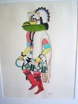 KAI-SA (PERCY SANDY) Native American ORIGINAL SIGNED Watercolor Gouache Art - $550.00