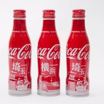Yokohama & 2 Saitama Coca Cola Aluminum Full bottle 3 250ml Japan Limited - $38.61