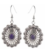 AMETHYST Silver Concho Earrings Stamped Feathers Dangles Navajo Lenora B... - $98.00