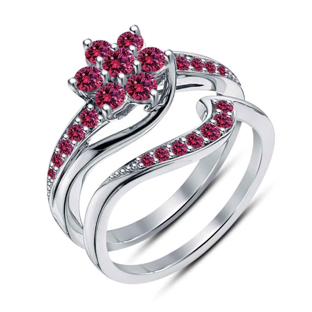 Primary image for 925 Sterling Silver Pink Sapphire Platinum Plated Engagement Bridal Ring Set 5 6