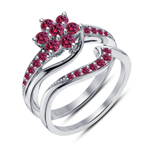 925 Sterling Silver Pink Sapphire Platinum Plated Engagement Bridal Ring Set 5 6 - $112.35