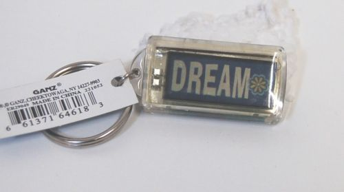 Ganz Solar Powered Flashing Dream Key Chain Blue Green White Pink Yellow Flowers
