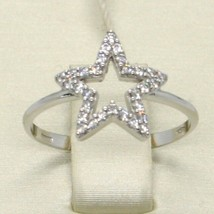 18K WHITE GOLD STAR CENTRAL ZIRCONIA RING, BRIGHT, LUMINOUS, BAND, MADE IN ITALY image 1