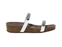 Sandales plates MEPHISTO IVANA en cuir verni blanc - Chaussures Femme - $126.53