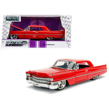 1963 Cadillac Red 1/24 Diecast Model Car by Jada 99551 - $30.04