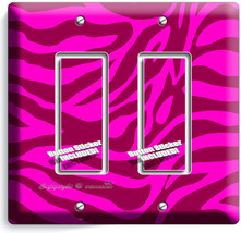 Hot Pink Zebra Stripe Animal Print 2 Gang Gfi Light Switch Wall Plate Room Decor - $11.69