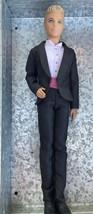 2012 Barbie Fashionista Ken Groom Doll Original Black Tuxedo Pink Suit  EUC - $12.90