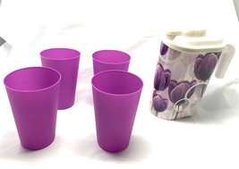 Purple Plastic Water Pitcher With Four Glasses Matching Color Theme - $15.83