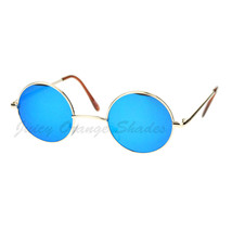 Small Size Round Circle Metal Frame Sunglasses Color Mirror Lens - $9.95