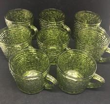 "Vintage Anchor Hocking Green Ripple Glass Soreno Cup Mug 2 5/8"" Tall - l... - $28.05"