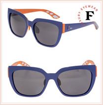 Christian Dior Decale 2 Square Sport Blue Coral Orange Rubber Sunglasses Women - $257.40