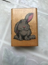 Happy Hare Bunny Rabbit One Ear Up Rubber Stamp Comotion 493 Small - $9.13