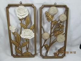 Vintage 1955 Dart Ind. (#8571B&C) Gold & White Floral Wall Plaques (set-... - $10.00