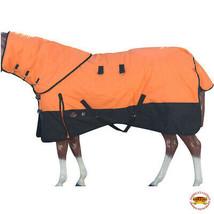 "72"" Hilason 1200D Waterproof Poly Turnout Horse Blanket Neck Cover Orange U-D-72 - $114.99"
