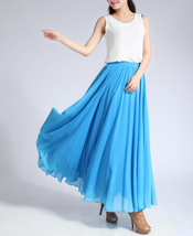 Women Long MAXI Chiffon Skirt AQUA-BLUE Chiffon Maxi Skirt Summer Wedding Skirt image 3
