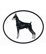 Dog Breed Oval Vinyl Car Decal Black & White Sticker - Doberman Pinscher - £2.90 GBP