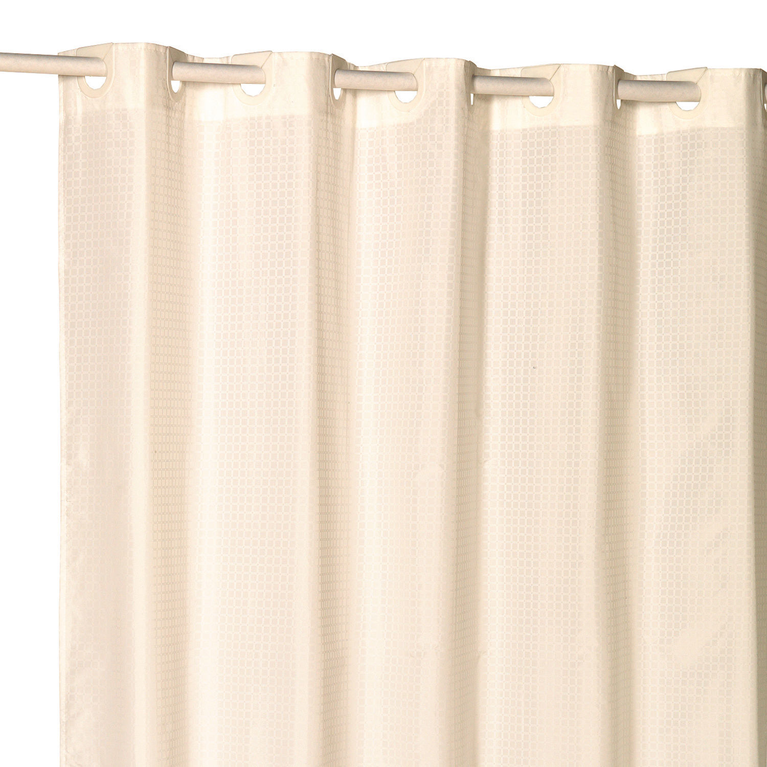 """EZ On Fabric Shower Curtain Check With Built in Hooks 70""""x75"""" Ivory"""