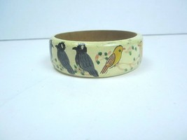 Vintage Wooden Bangle Bracelet Handpainted yellow With Birds  - $9.49