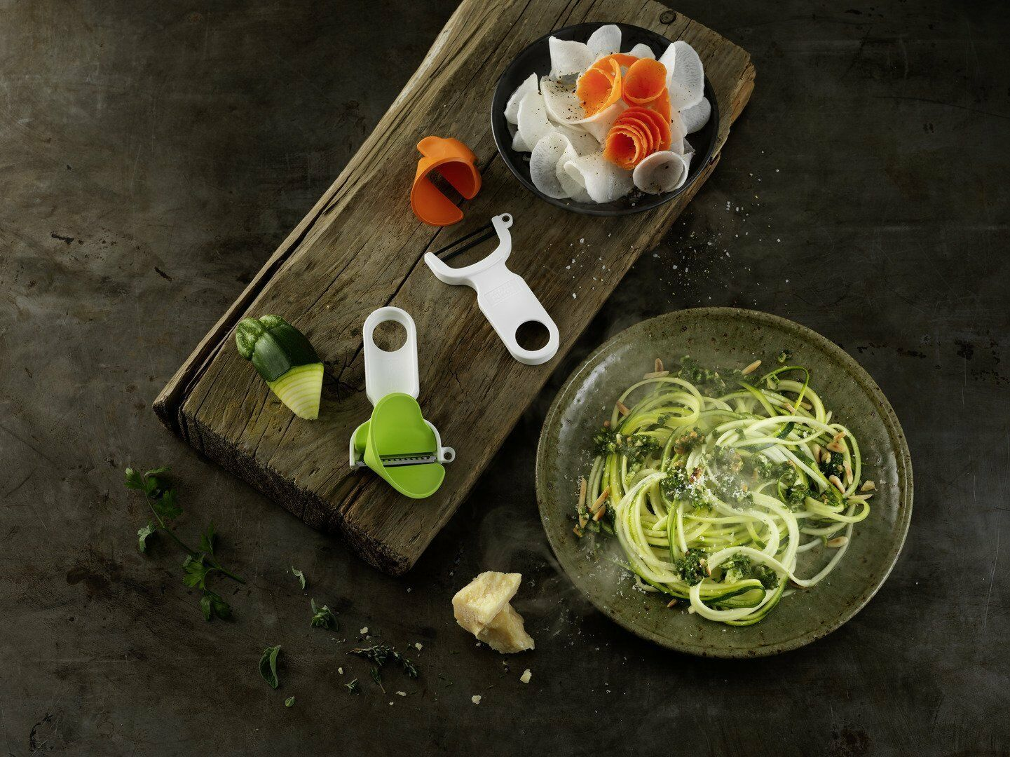 Kuhn Rikon Click-N-Curl Spiralizer Set with Swiss & Julienne Peelers
