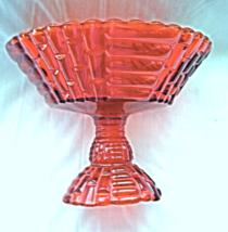 Vintage Jeannette Glass Pedestal Bowl Red  Floragold Louisa Pattern Bask... - $12.99