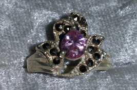 Pink Ice & Marcasite Pls look at color chart silver ring size 6.5 vintag... - $49.00