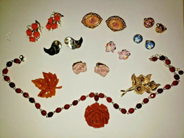 Vintage 6 Pairs Clip On Earrings Carved Necklace 2 Avon Brooches 2 odd Earrings - $49.99