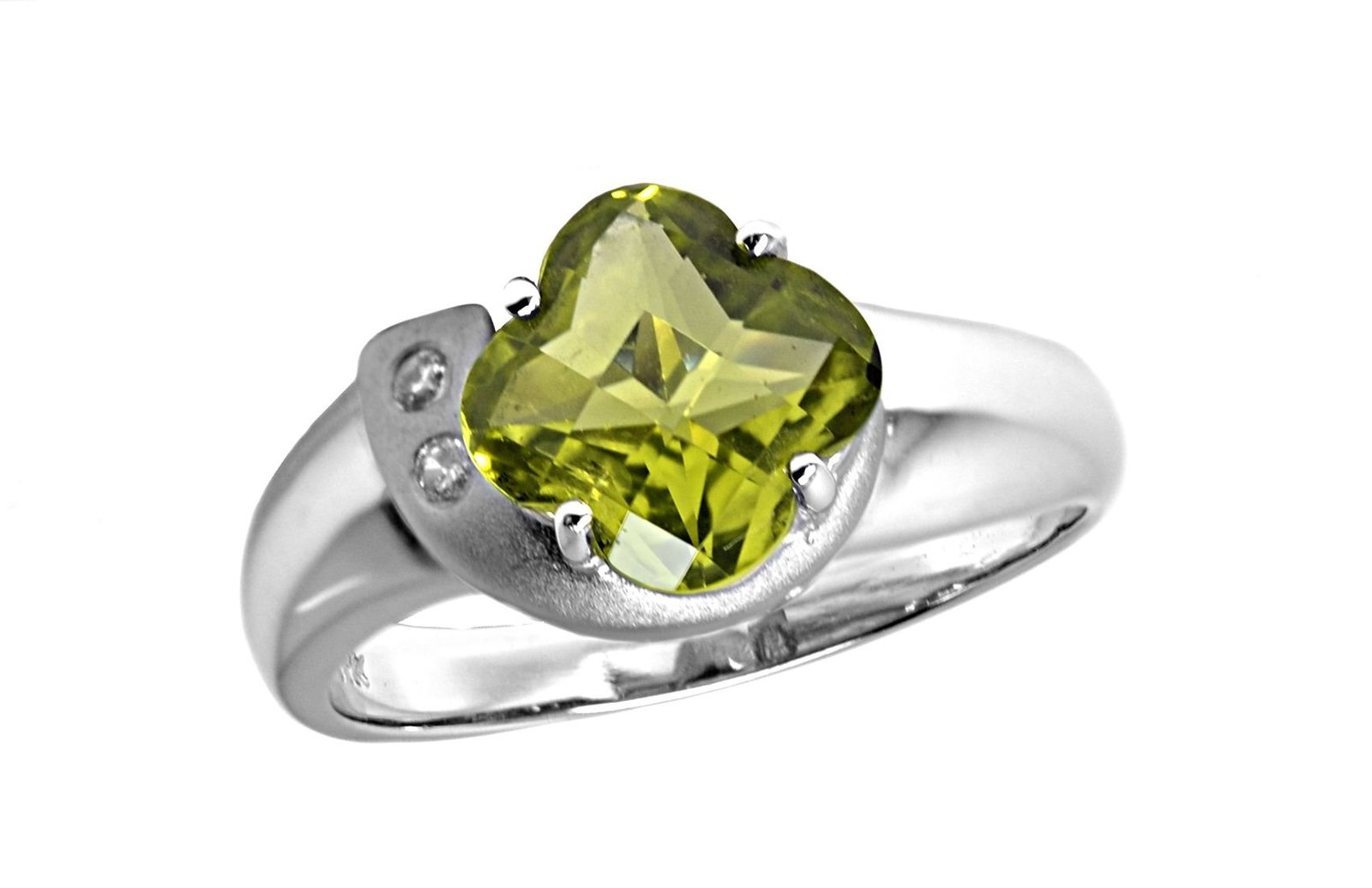 14K White Gold Genuine Fancy Faceted Peridot Ring