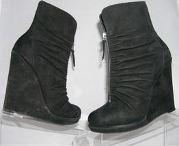 Enzo Angiolini 'Filia' nubuck zip up pull-on wedge boots women heel shoe... - $9.04