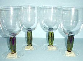 Lenox Avalon 4 All Purpose Goblets Crystal Green Stem Clear Bowl 12 oz. New - $64.90