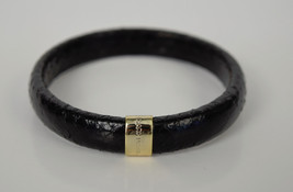Marc Jacobs Collection Snakeskin Leather Print Black Bangle Cuff Bracelet New - $49.50