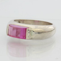 Hot Pink Lab Created Sapphire Ruby Unisex Handmade Sterling 925 Ring size 6.75 - £50.30 GBP