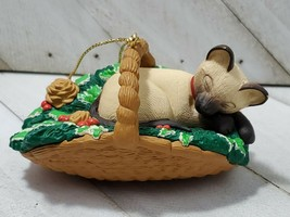 Hallmark Ornament - Cat Naps - Siamese Cat Sleeping in Basket - 1996 - $5.00