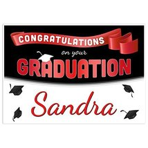 Red Ribbon Class of 2018 Graduation Banner Personalized Backdrop - $787,44 MXN